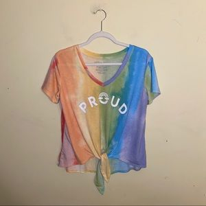 """FIFTH SUN """"proud"""" rainbow tie front top size large"""